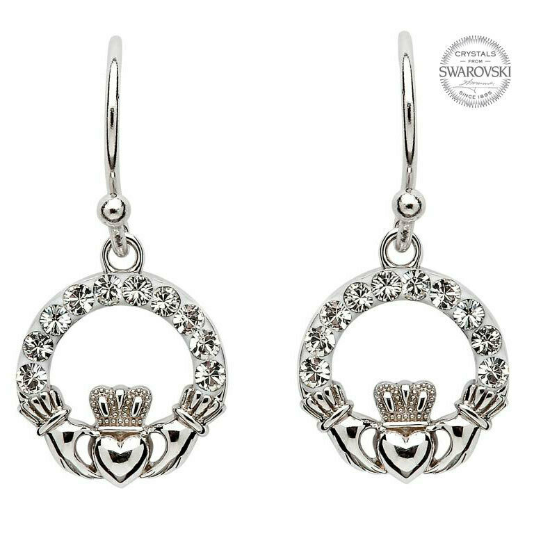 Sterling Silver Claddagh Earrings Adorned with Swarovski Crystals