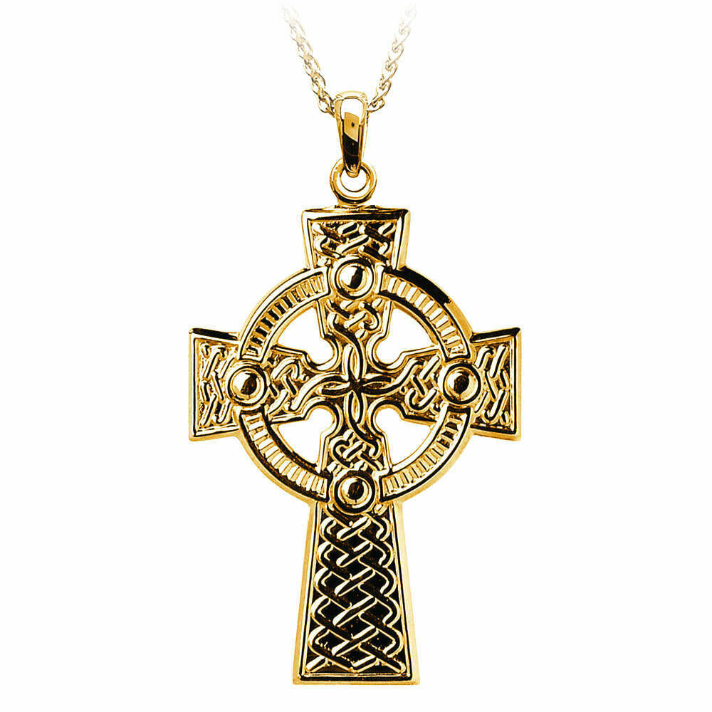 """10kt Yellow Gold Traditional Celtic Knot Cross- Medium, and 10kt 18"""" Chain"""