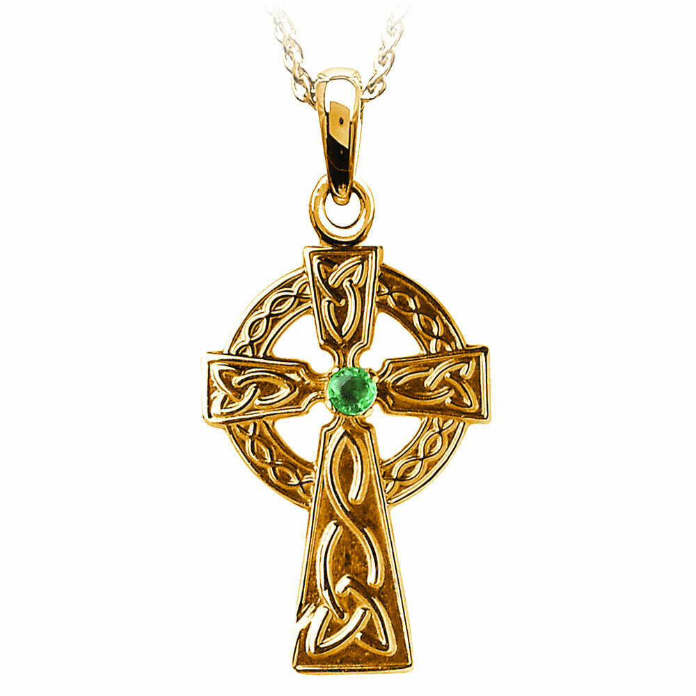"10kt Yellow Gold Traditional Celtic Cross with Emerald, and 10kt 18"" Chain"