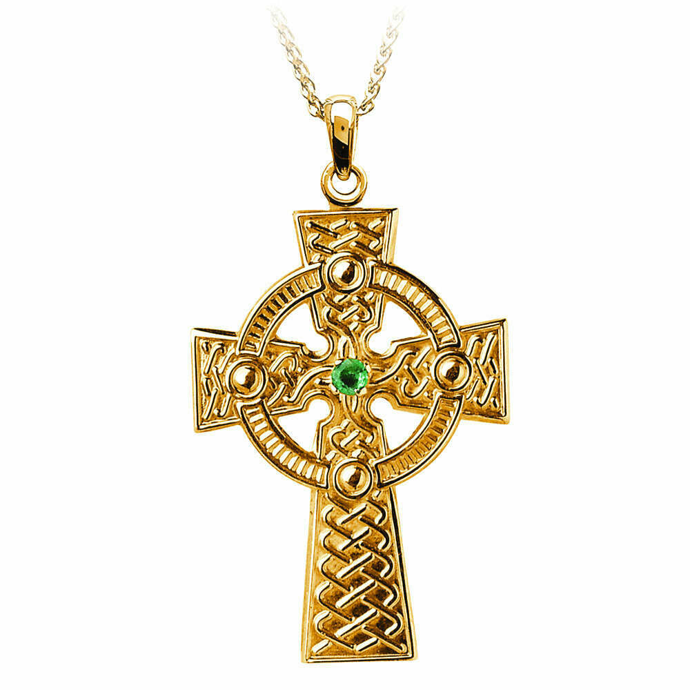 "10kt Yellow Gold Traditional Emerald Celtic Knot Cross- Medium, and 10kt 18"" Chain"
