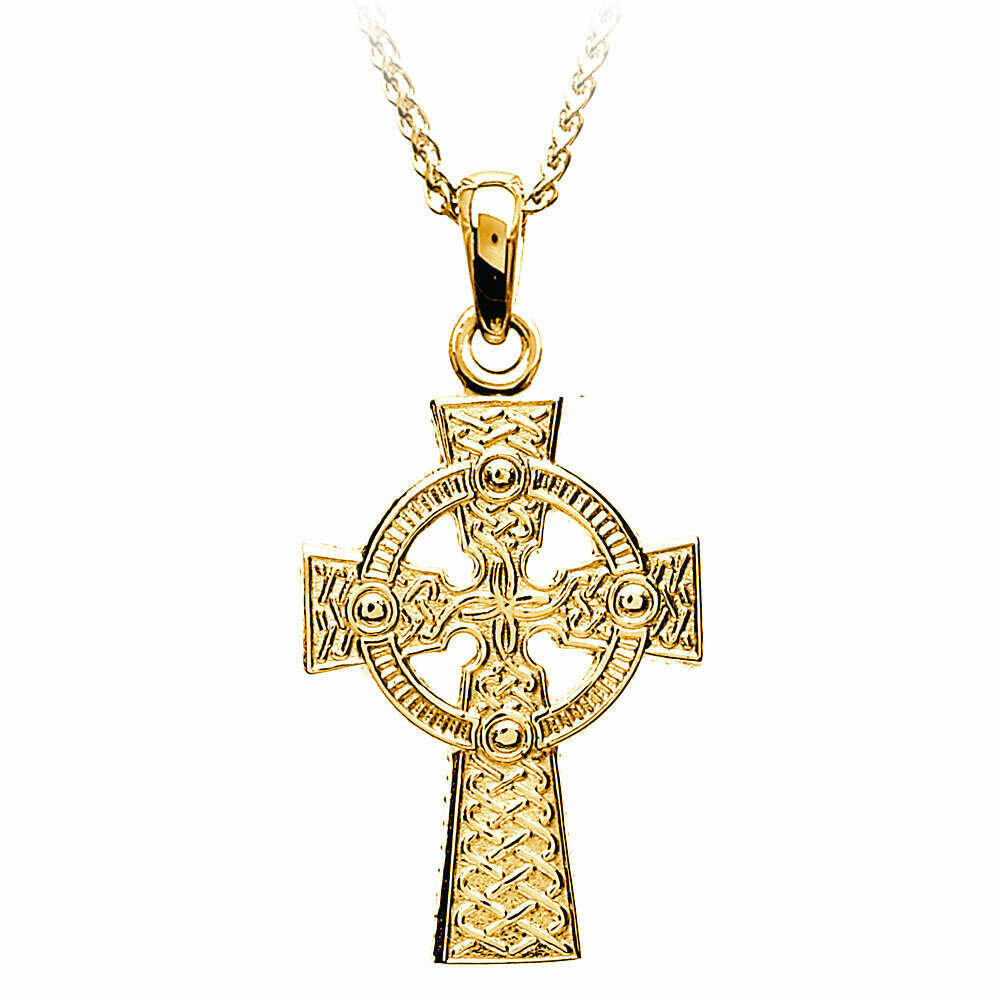 "10kt Yellow Gold Decorative Two Sided Celtic Cross- Large, and 10kt 18"" Chain"