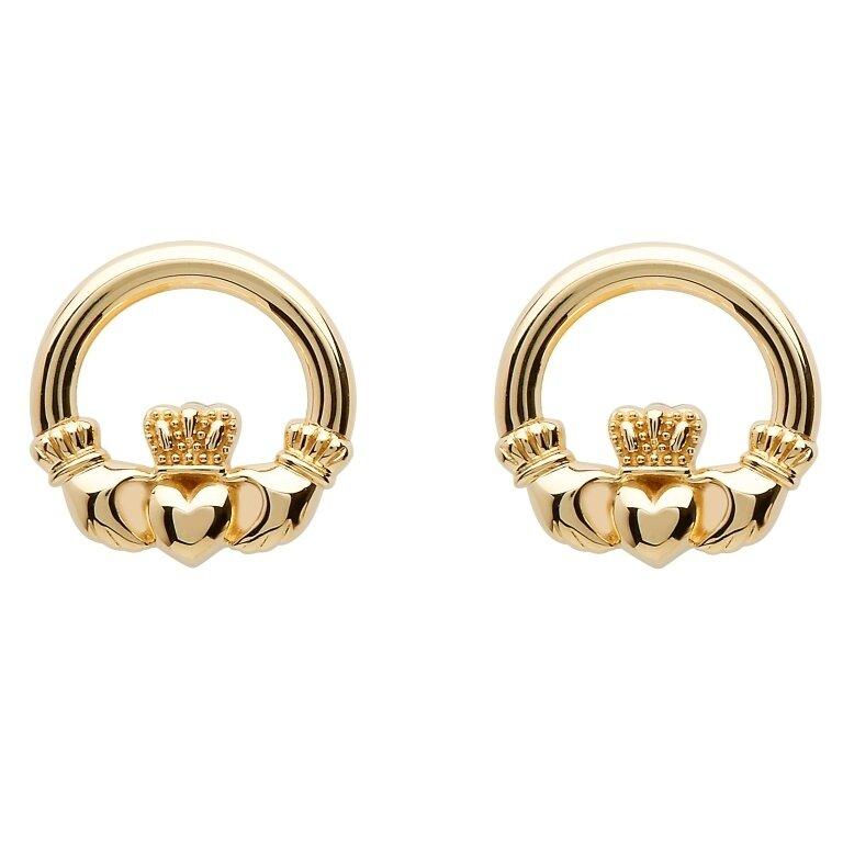 10kt Gold Claddagh Stud Earrings