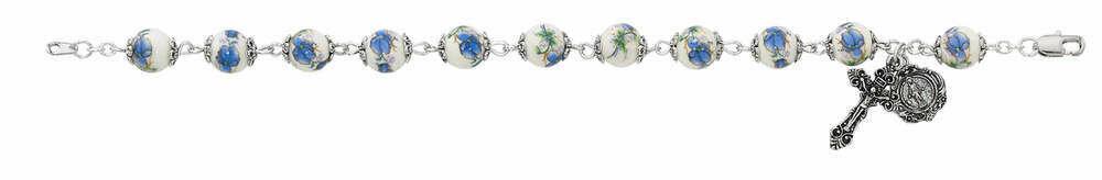Adult Blue Flower Ceramic Rosary Bracelet