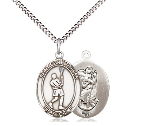 "Sterling Silver St. Christopher Lacrosse Sports Medal on a 18"" Light Rhodium Chain"
