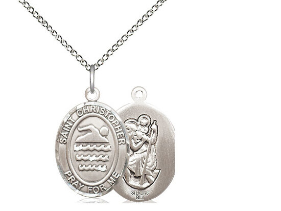 "Sterling Silver St. Christopher Swimming Sports Medal on a 18"" Light Rhodium Chain"