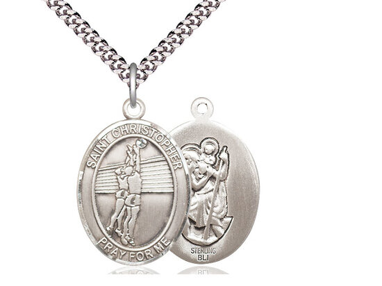 """Sterling Silver St. Christopher Volleyball Sports Medal on a 18"""" Light Rhodium Chain"""