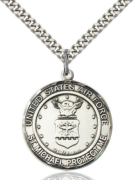 """Sterling Silver U.S. Air Force/St. Michael Medal on a 24"""" Light Rhodium Chain"""