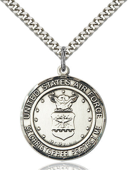 "Sterling Silver U.S. Air Force/St. Christopher Medal on a 24"" Light Rhodium Chain"