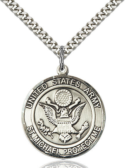 "Sterling Silver U.S. Army/St. Michael Medal on a 24"" Light Rhodium Chain"