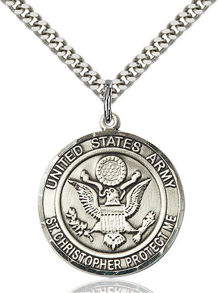 "Sterling Silver U.S. Army/St. Christopher Medal on a 24"" Light Rhodium Chain"