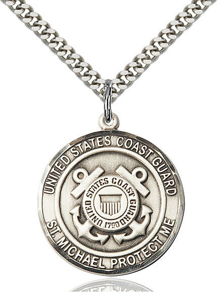 "Sterling Silver U.S. Coast Guard/St. Michael Medal on a 24"" Light Rhodium Chain"