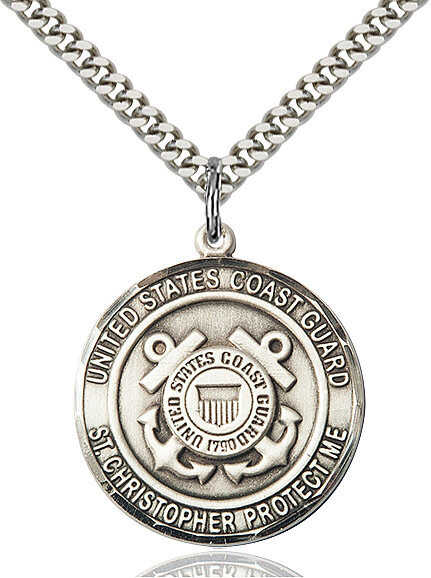 """Sterling Silver U.S. Coast Guard/St. Christopher Medal on a 24"""" Light Rhodium Chain"""