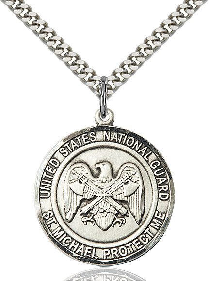 "Sterling Silver U.S. National Guard/St. Michael Medal on a 24"" Light Rhodium Chain"