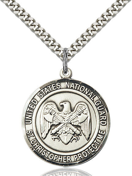 "Sterling Silver U.S. National Guard/St. Christopher Medal on a 24"" Light Rhodium Chain"