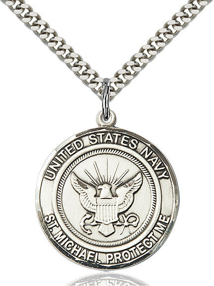 """Sterling Silver U.S. Navy/St. Michael Medal on a 24"""" Light Rhodium Chain"""
