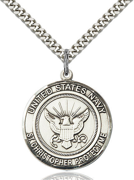 "Sterling Silver U.S. Navy/St. Christopher Medal on a 24"" Light Rhodium Chain"