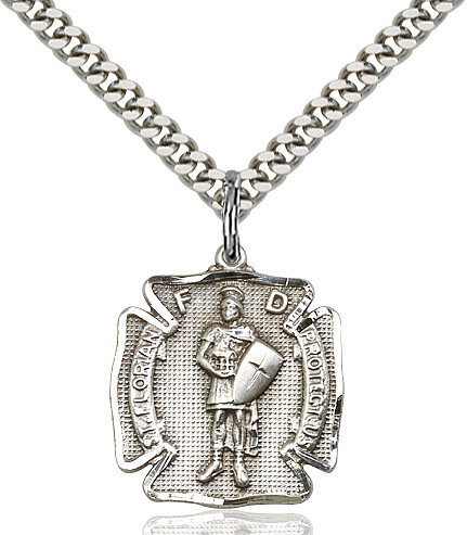 "Sterling Silver St. Florian Firefighers Badge Medal (Medium Size) on a 24"" Light Rhodium Chain"