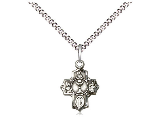 "Sterling Silver Communion 5-Way Pendant on a 18"" Light Rhodium Chain"