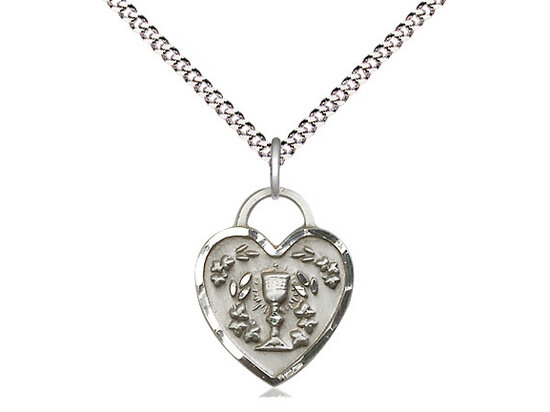 "Sterling Silver Communion Heart Pendant on a 18"" Light Rhodium Chain"