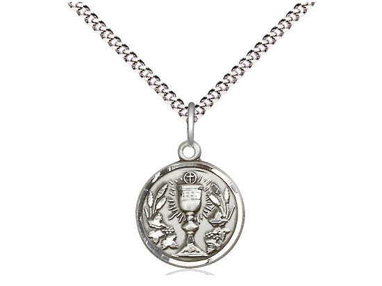 """Sterling Silver Communion Chalice Pendant on a 18"""" Light Rhodium Chain"""