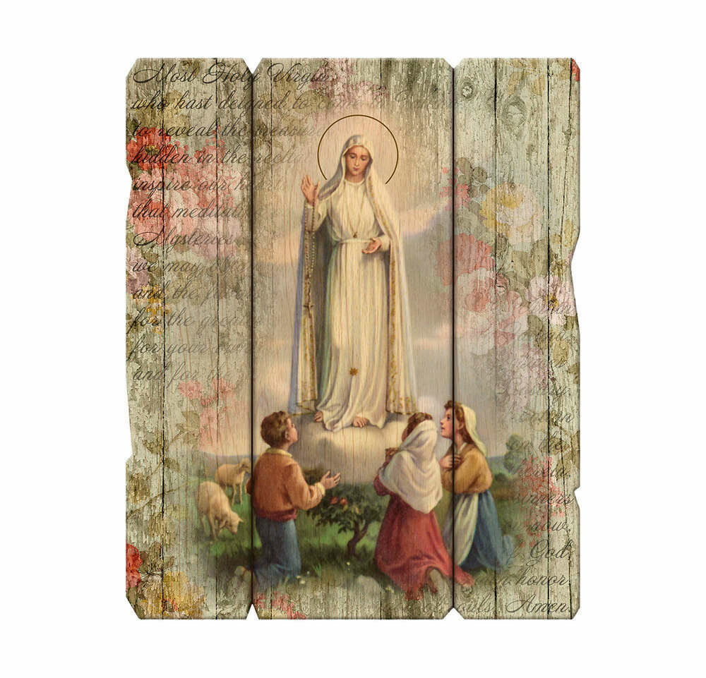 Our Lady of Fatima with Children Laser Cut Wooden Wall Plaque