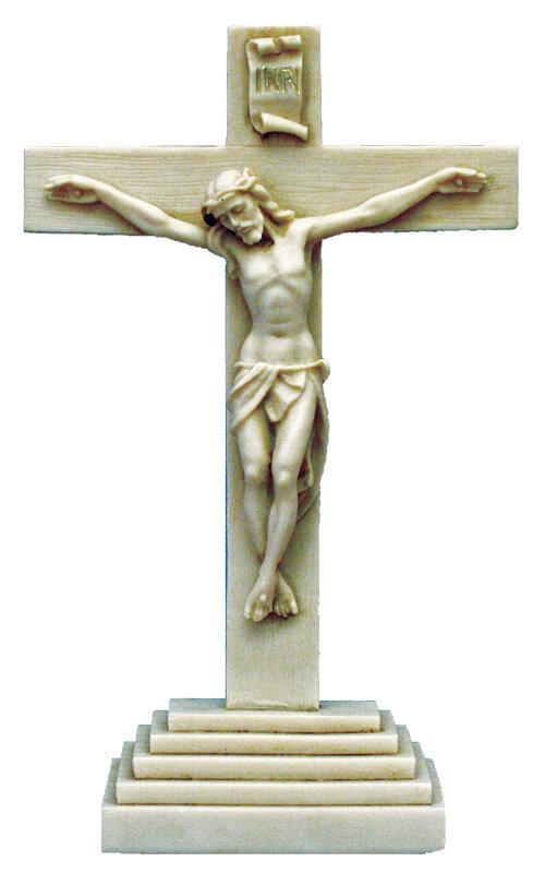 "10.5""  Standing Antiqued Alabaster Crucifix"