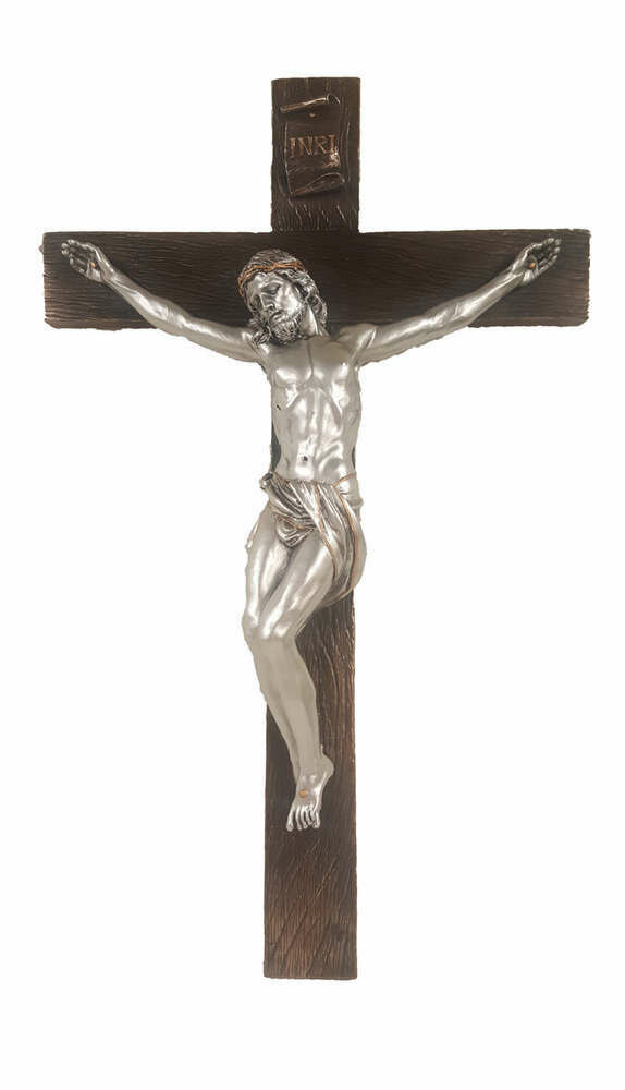 "16"" Crucifix, Pewter Style Corpus, Bronze Cross"