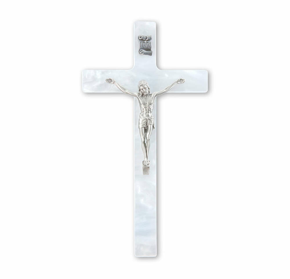 "7"" Pearlized White Cross with Antiqued Silver-Plated Corpus"