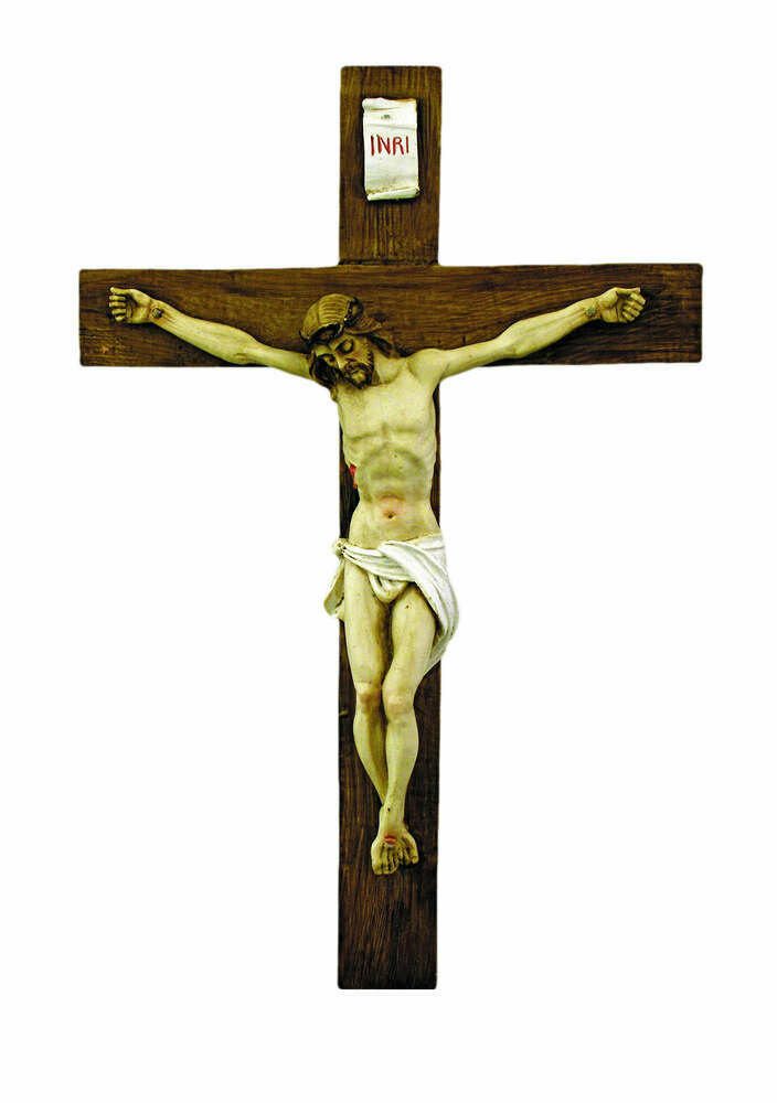 """Hand-Painted Alabaster Crucifix- 15"""""""