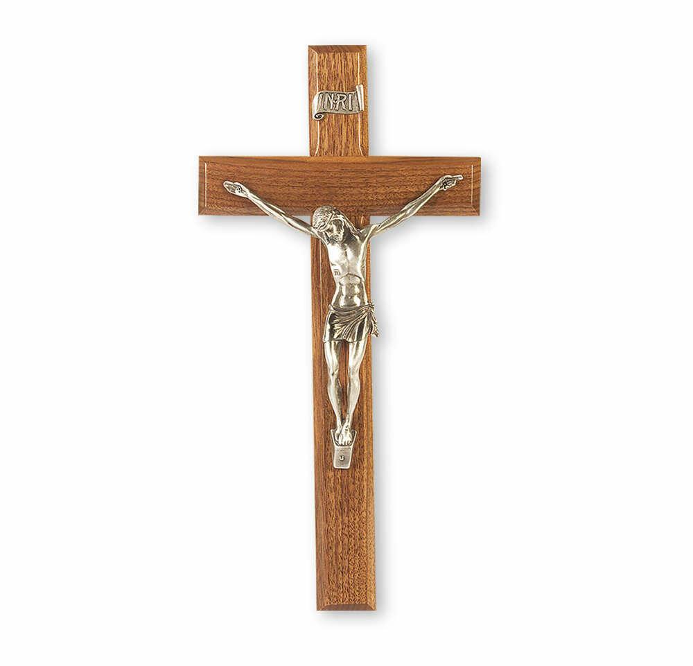 "12"" Genuine Walnut Cross with Antiqued Fine Pewter Corpus"