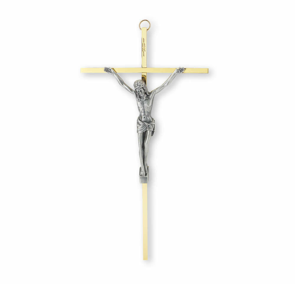 "10"" Brass Plated Metal Cross with Antiqued Silver-Plated Corpus"