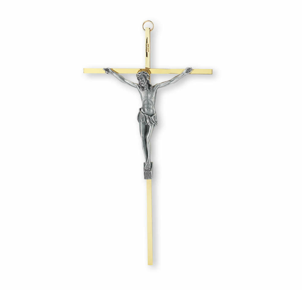 """10"""" Metal Brass Plated Cross with Antiqued Silver-Plated Corpus"""