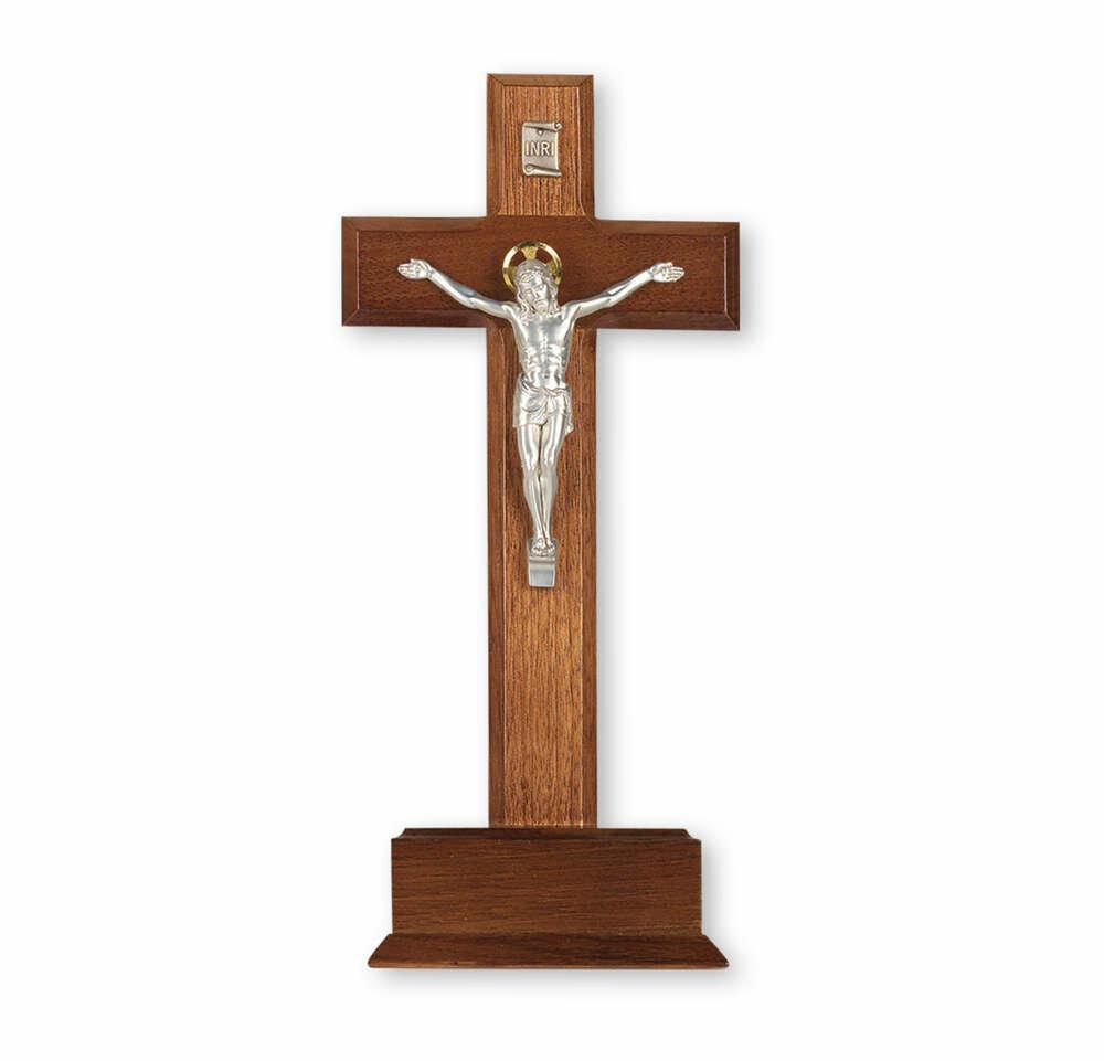 "10"" Standing Walnut Cross on Base, Silver-Plated Italian Corpus"