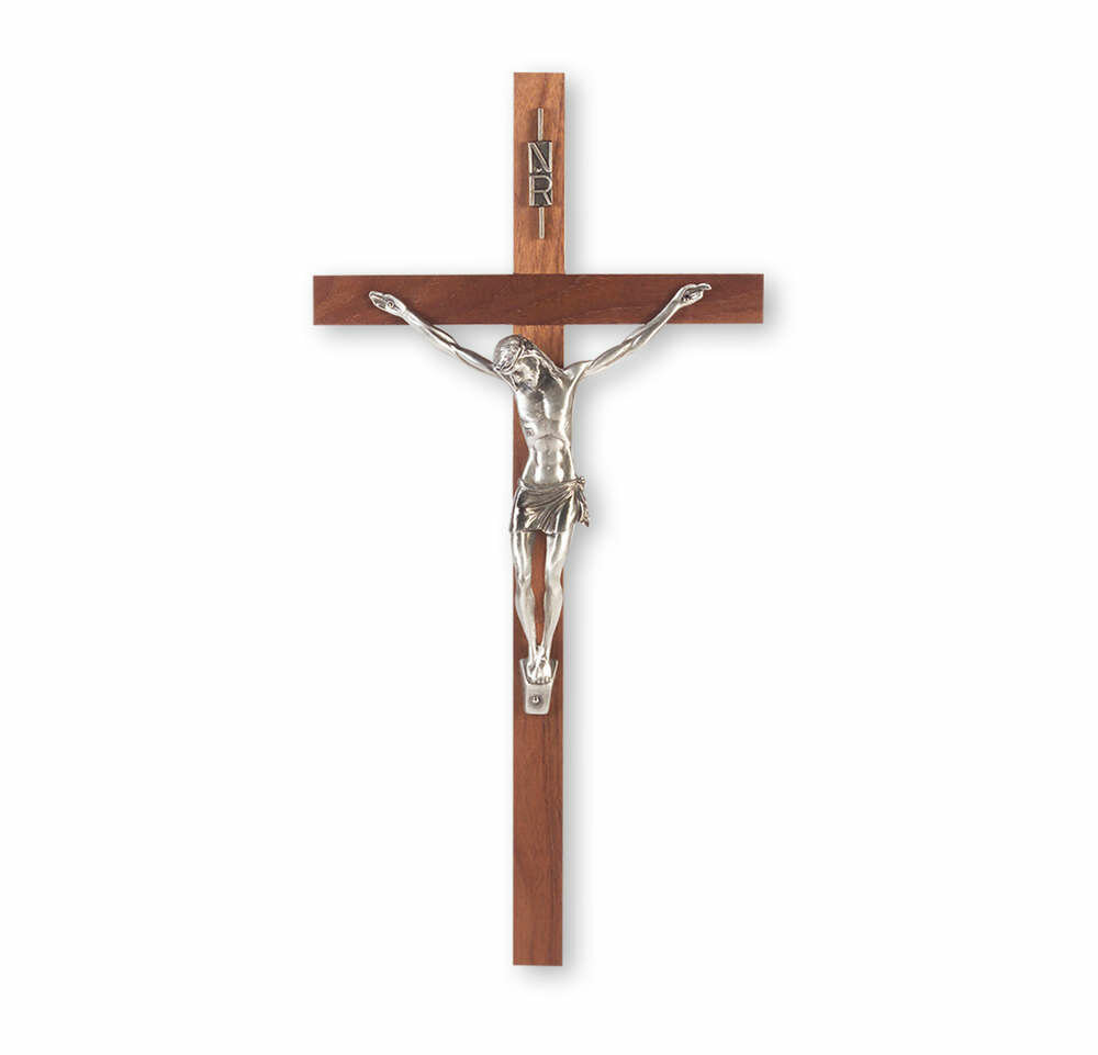 "13"" Genuine Walnut Cross with Antiqued Fine Pewter Corpus"