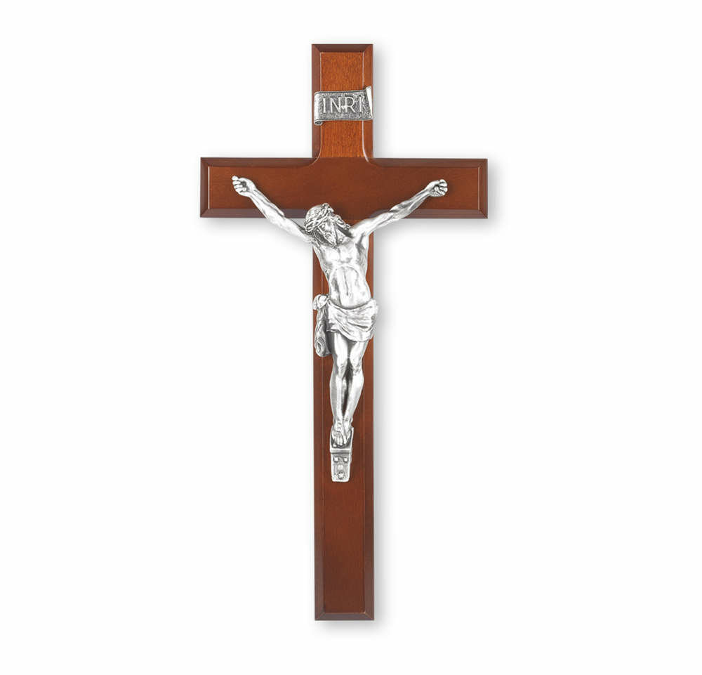 "12"" Dark Cherry Crucifix with Antiqued Pewter Corpus"