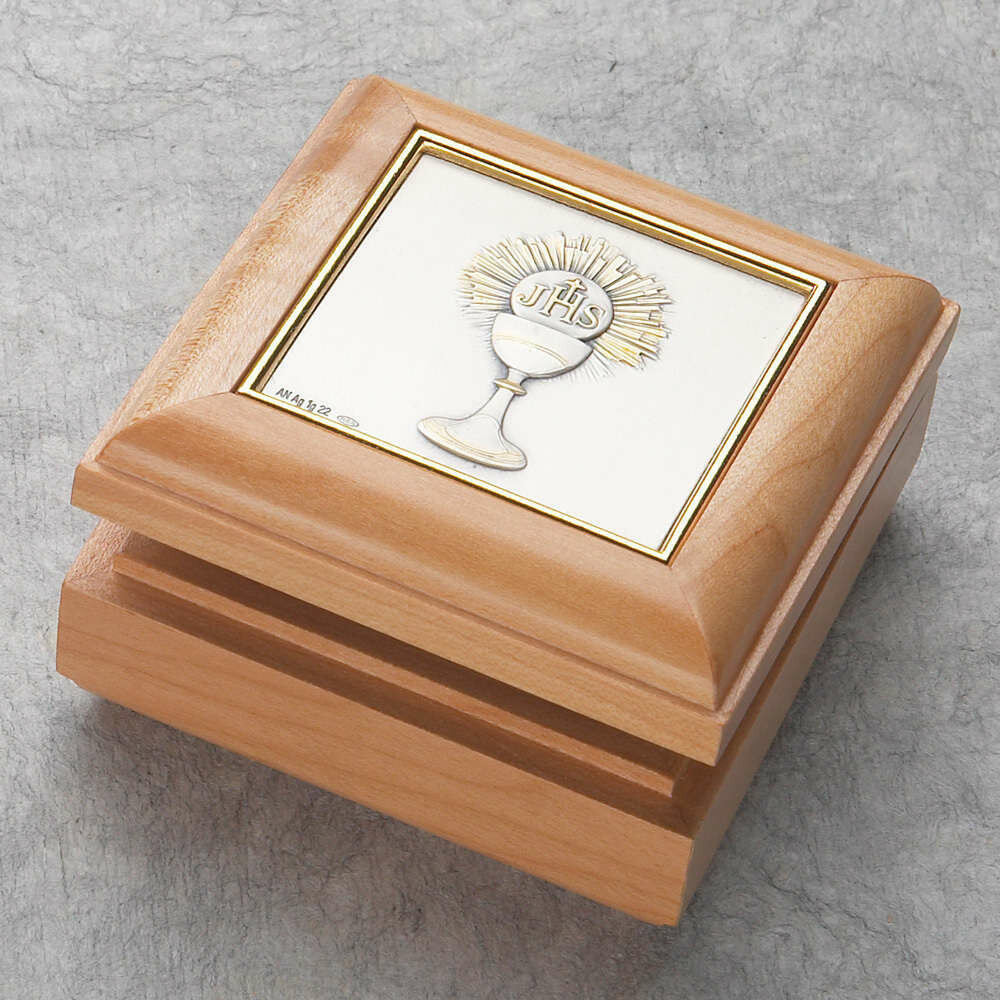 First Holy Communion Maple Wood Rosary Box with Chalice
