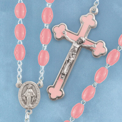 Oval Bead Rosary- Pink