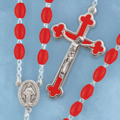 Oval Bead Rosary- Red