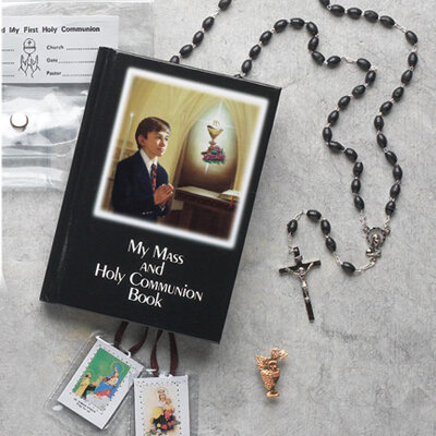 First Holy Communion Laminated Hard Cover Book Gift Set- Boy