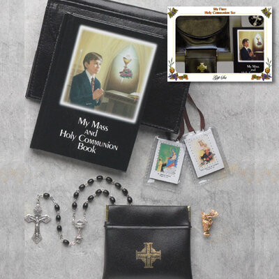 First Holy Communion Laminated Hard Cover Book Deluxe Gift Set- Boy