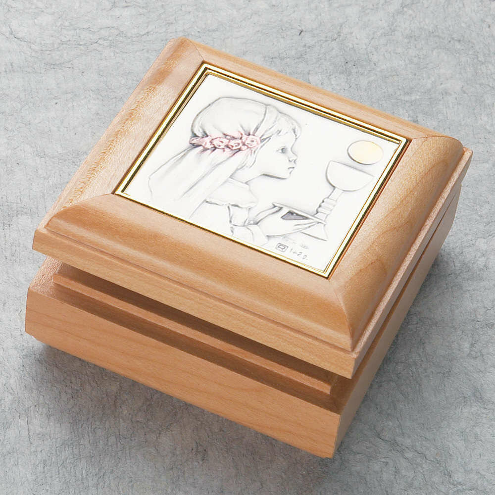 First Holy Communion Wood Rosary Box with Girl Plaque
