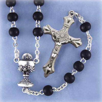 First Communion Rosary- Black Glass