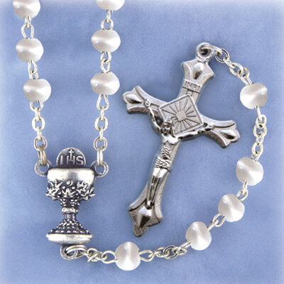 First Communion Rosary- White Cat's Eye
