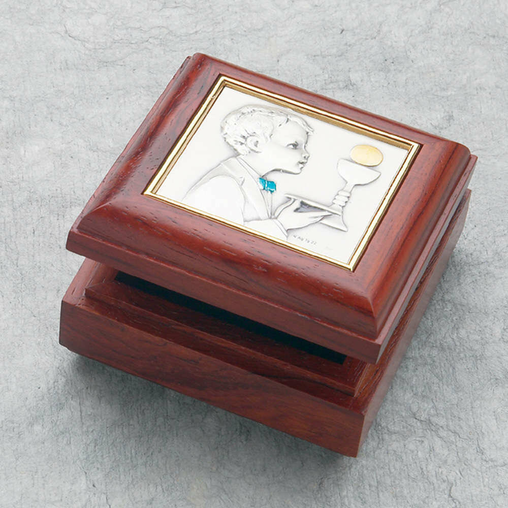 First Holy Communion Wood Rosary Box with Boy Plaque