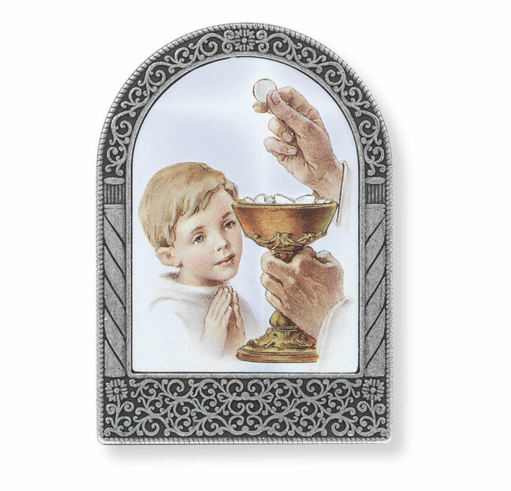 """2 3/4"""" Silver Metal Frame with Communion Boy Image"""