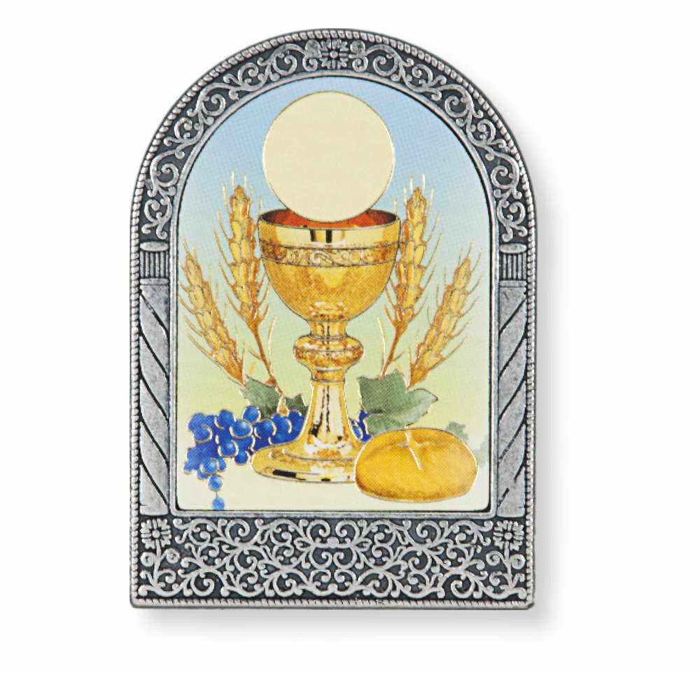 """2 3/4"""" Silver Metal Frame with Communion Chalice Image"""