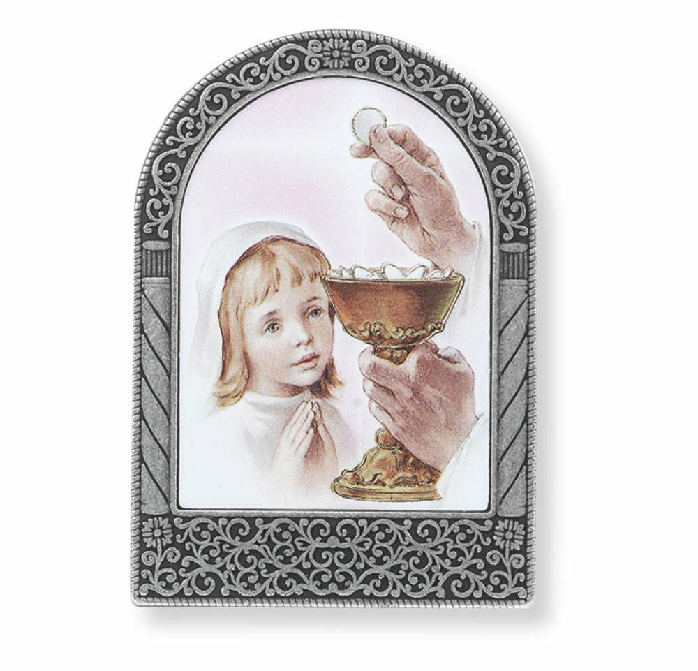 "2 3/4"" Silver Metal Frame with Communion Girl Image"