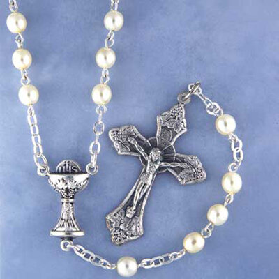 First Communion Rosary- Glass Pearl