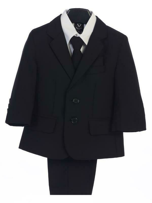Black boy's two button suit with jacket, vest, shirt, tie, pants