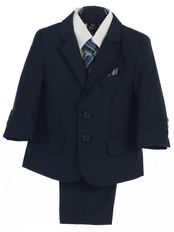 Navy Blue boy's two button suit with jacket, vest, shirt, tie, pants